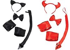 Halloween Cuff and Collar 4pc Set Tail Sequin Horns Ears Kitty Demon Devil Cat Clothing, Shoes & Accessories Wings, Tails, Ears & Noses