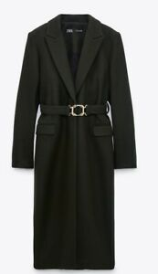 Zara Khaki Billiard Green Belted Coat With Buckle Size XL RRP £129.00 Trinny