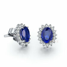 1.5CT/Piece Synthetic Sapphire Earrings Stud Genuine Sterling Silver Xmas Gift