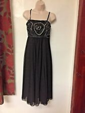 Ladies Black Sparkly Beaded Dress Party Evening Cruise Wear by Amara Size 10 New