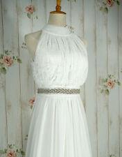 Wedding Dress Beaded Belt Crystal Bridal Sash Rhinestone 3M Length Ivory Ribbon
