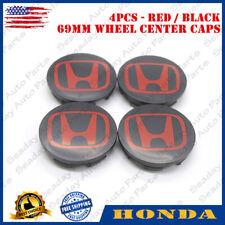 4Pcs Black Red Wheel Center Hub Caps Emblem For Honda Civic Cr-V Accord 69Mm