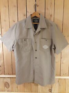Harley Davidson Men's Button-Down Khaki Shirt Size Med Embroidered Short Sleeve