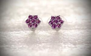 NEW Rare, Color-Change Royal Purple Garnet Starburst Stud Earrings, Platinum