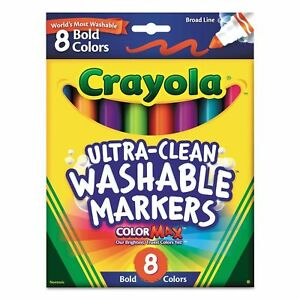2 Pack Crayola Ultra-Clean Washable Markers,Color Max, Broad Line, 8 Bold Colors