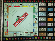 MONOPOLY GAME BOARD MONEY CARDS COTTON FABRIC PANEL