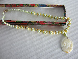 Necklace 17 ins Green Pearls Mother of Pearl Cameo Detailed Gold Bead Caps .