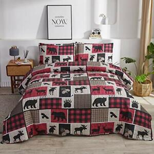 Plaid Patchwork Bedding Lightweight Rustic Cabin Quilt Set Full/Queen Size3Pc...