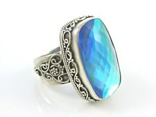VINTAGE LARGE BLUE GLASS CUSHION CUT STERLING SILVER RING SIZE 9 1/2