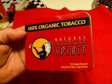 Natural American Spirit EMPTY Cigarette Tin, RED FLAT with orig. plastic, NOS