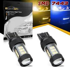 2x 7443 7440NA 54-SMD LED Blue-Amber Switchback Front Turn Signal Blinker Lights