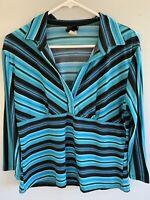 Vintage STRIPE Hippie Boho Shirt Blouse 1960s 1970s Groovy Knit Stretch