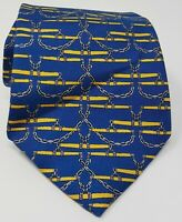 Cravatta hermes paris blu gialla 100% pura seta tie made in italy original