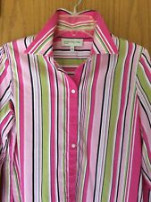 Jones New York Sport Small Long Sleeve Stripe Button Cotton Blouse Career Top