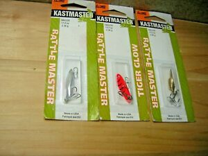New Three (3) Acme Kastmaster 1/12 Ounce Rattle Master Spoons-Assorted Colors