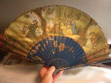 Antique-Vintage, Victorian, Hand Painted Wood, Folding Hand Fan, Linen