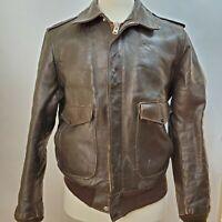 Vintage 60s Schott Leather Bomber Flight Jacket - IS674MS - 42