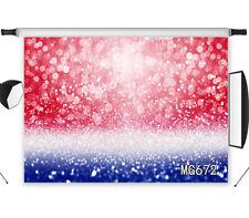 7X5FT  Red White Blue Glitter Halo Vinyl Studio Backdrop Background Photography