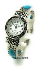 Ladies Silver Metal Bangle Cuff Fashion Watch with Stones Pearl Dial Wincci WB80