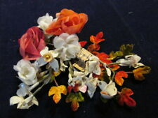 "Vintage Millinery Flower Collection 1 1/2-2"" Ivory Orange German Shabby H2775"
