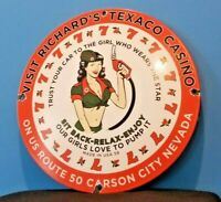 VINTAGE TEXACO GASOLINE PORCELAIN CASINO GAS OIL ROUTE SERVICE STATION PUMP SIGN
