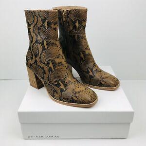 WITTNER Women's Leather Sahara Boots Camel Snake Print EU 38 AU 7.5 NEW IN BOX