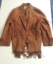 Vtg PIONEER WEAR Men's Brown Suede Leather Western Fringe Jacket Sz M? Made USA