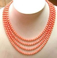 4 Rows 4mm Pink Red Coral Beads 18KWGP Clasp Women Bunch Sweater Chain Necklace