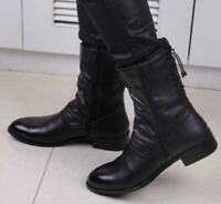 Mens Pointy Toe Mid Calf Boots Zipper Pu leather Ankle Boots Block heel Shoes #
