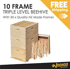 Beehive - 3 Levels - 30x NZ made Frames - Bee Box Full Depth 10F size