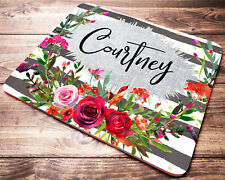 PERSONALIZED Red Floral Striped Mouse Pad Desk Accessories Decor For Women