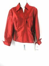 Sunny Leigh 100% Silk Shantung Blouse Winter Dreams Red Wrap Style Size 14P NWT