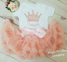 Personalised Girls 1st Birthday Outfit Baby Tutu Dress Cake Smash Rose Gold Girl