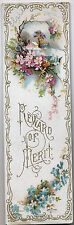 """Victorian Bookmark, Embossed Litho """"Reward of Merit"""" Floral 6 & 1/2"""" by 2"""""""