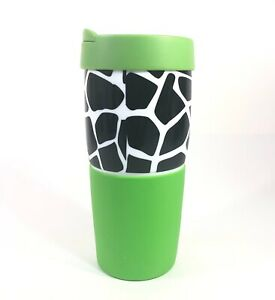 Gibson Everyday Travel Tumbler Mug Cup Silicon & Ceramic Leopard Print & Green