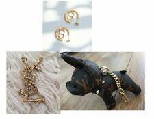 New Women's Brooch Pin YSL Letters / earrings  / dog keaychain