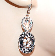 ORECCHINI donna argento etnici strass cristallo trasparente gocce ragazza G39