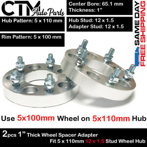 """2PC 1"""" THICK 5x110mm to 5X100mm WHEEL ADAPTER FIT PONTIAC G5/G6/SOLSTICE"""