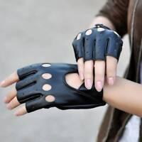 1 Pair Fashion Half Finger Driving Women Gloves PU Leather Fingerless Gloves