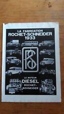 PUBLICITE ANCIENNE - PUB ADVERT 1933 Rochet Schneiderdos dos phono Thomson