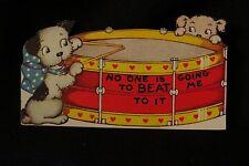 Vintage Puppy & Snare Drum Valentine Card 1940S