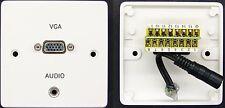 AV Wall Plate VGA Socket to Screw Connector & 3.5mm Audio Jack Socket Short Tail