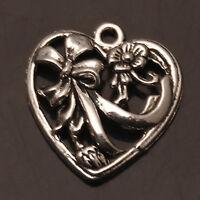 Hollow Heart Flower Tibetan Silver Charms Pendants Crafts Jewelry Findings DIY