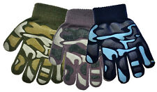 3 Pair Kids Magic Gripper Gloves Camouflage Design 3 Colours Acrylic Winter Warm