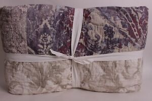 New Pottery Barn Gray Kali Handcrafted patchwork cotton King quilt, lavender