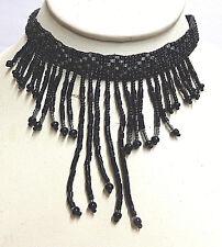 vintage black jet beaded collar drape necklace  silver catch
