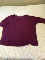 Maurices Womens Size 2X Purple Short Sleeve Pullover Hi-Lo Scoop Neck Top [012c]
