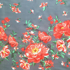 Border floral fabric, retro cabbage rose, white pink grey dress Michael Miller