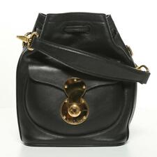 RALPH LAUREN Black Nappa Leather Small Ricky Drawstring Bag Bucket Tote Satchel