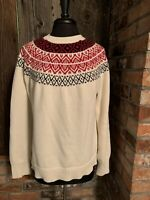 Fair Isle Nordic Mock Neck chunky knit cotton sweater womens size XL Chaps
